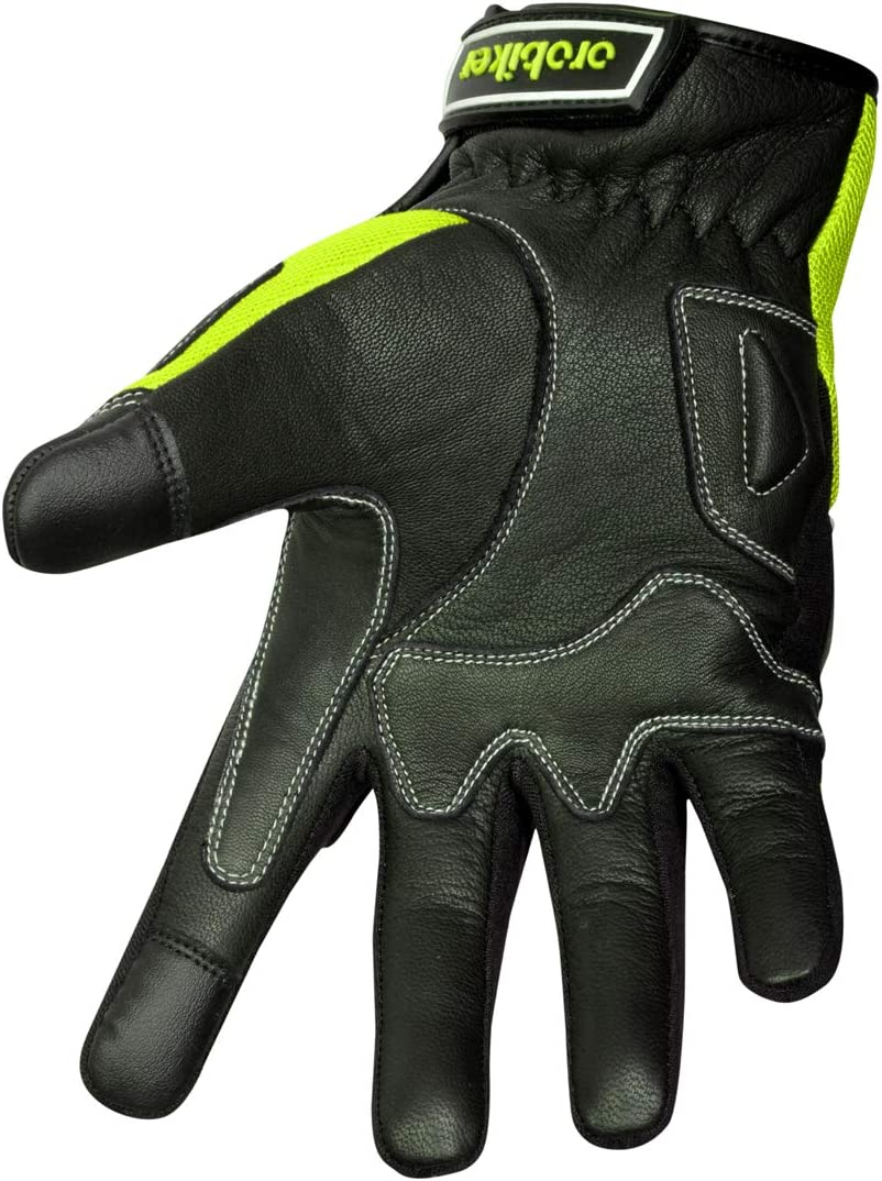 Premium Leather and Summer Mesh Hard Knuckle Touch Screen Motorbike Gloves Racing ATV Riding Gloves for Men XX-Large, Black//White Oro Biker Motorbike Motorcycle Gloves