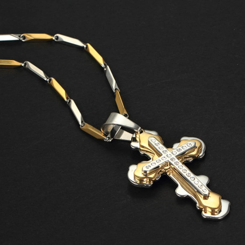 Bishilin Stainless Steel Fashion Men Women Necklace Pendant Gold Jesus Crucifix Cross Link 26Inch
