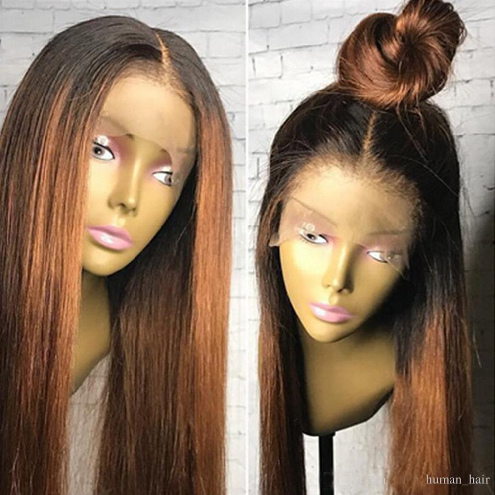 Human Hair Straight full lace wig 100% Real Brazilian Hair Ombre Black Roots 1B 30 Color 130% Density Wig For Black Women (12'', lace frontal wig)