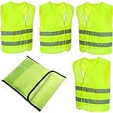 4 Stück Warnwesten Auto Pannenweste Warnweste Neon Gelb Knitterfrei| Waschbar |360 Grad Reflektierende Sicherheitsweste KFZ EN471 Prowiste®