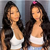 ANDRIA Lace Front Wigs Glueless Natural Wave Synthetic Heat Resistant Fiber Hair Wig Long Wavy Wig With Baby Hair For Black W