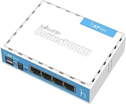 Mikrotik hAP Lite Interne Blanc Point d'accès réseaux locaux sans Fil - Points d'accès réseaux locaux sans Fil (10,100 Mbit/s, 32 Mo, QCA9531 650MHz, 1,5 dBi, 3 W, Blanc)