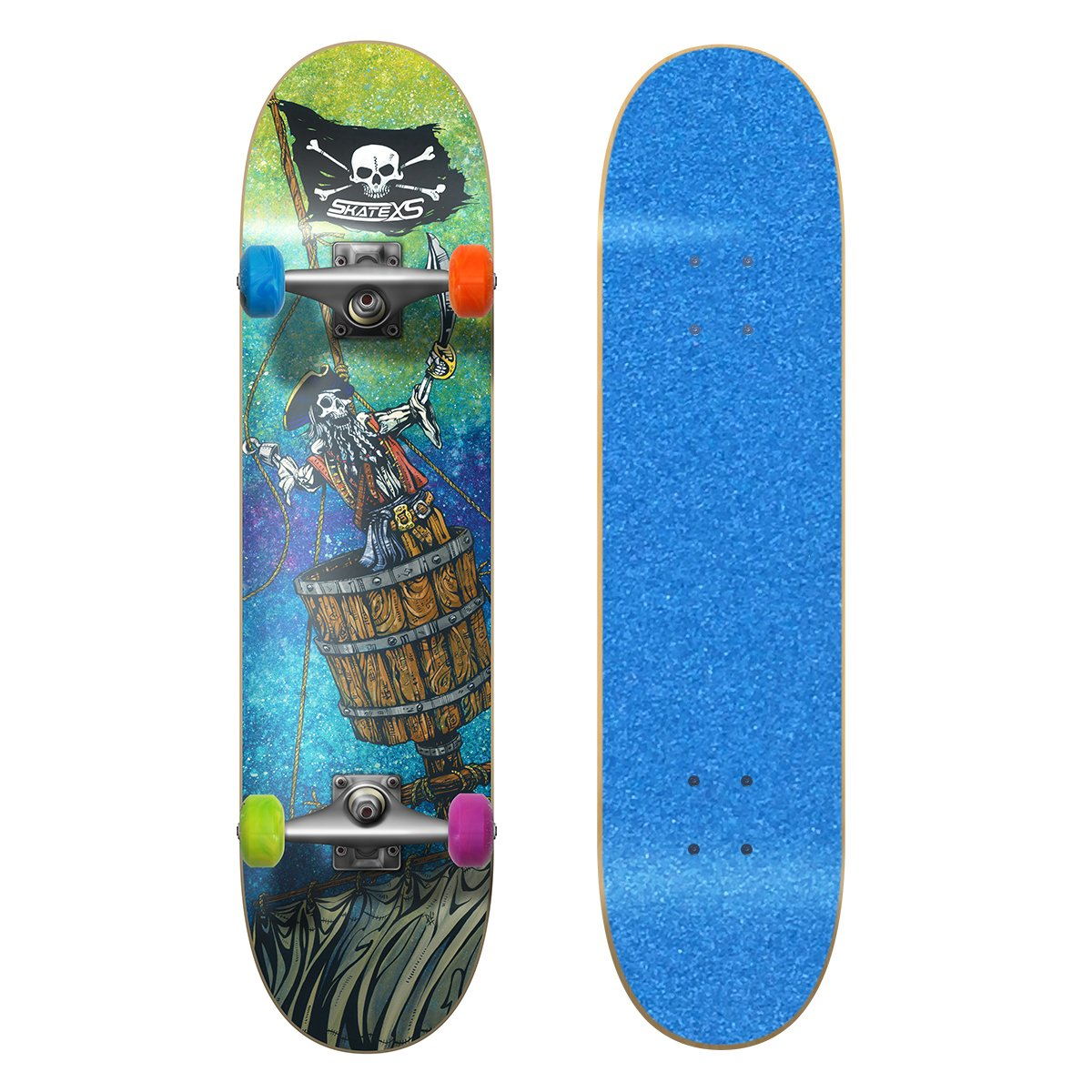 SkateXS ビギナー 8-10) 海賊 ストリート スケートボード x 7.25 x Tape 29 (Ages 8-10) Blue Grip Tape/ Multi-Color Wheels B01N7EBXWH, 東津軽郡:c8d696c8 --- ero-shop-kupidon.ru