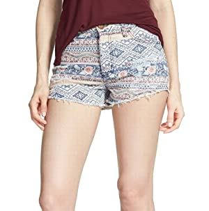 Love Fire Junior Printed Distressed Frayed Denim Shorts Blue 0
