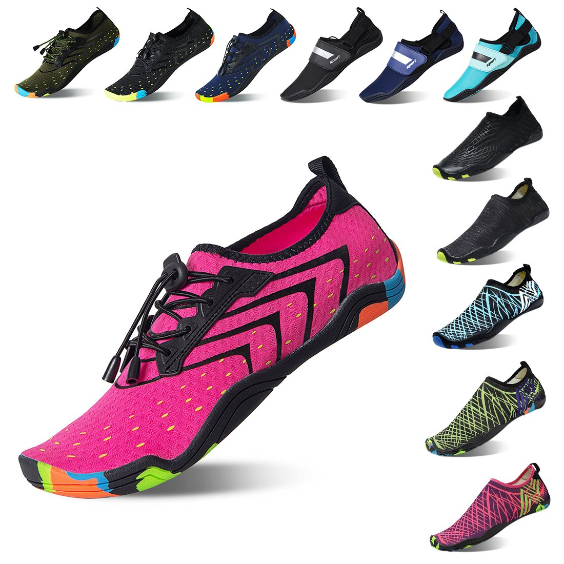 Lauwodun Womens Mens Quick Dry Water Shoes Barefoot Aqua Sock Shoes Beach Surfing Yoga Running Exercise -Pink40