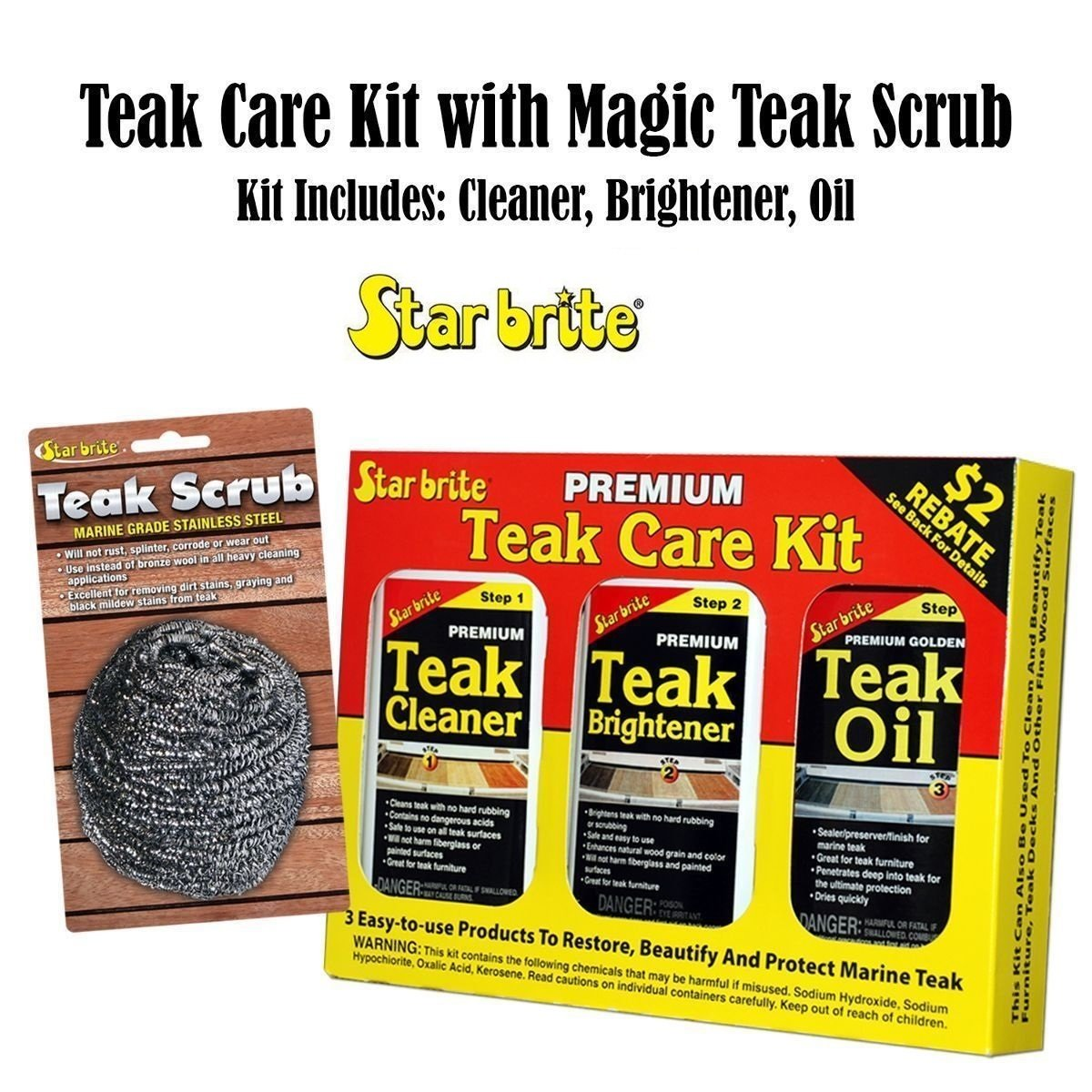 Starbrite Teak Care Kit w/Magic Teak Scrub BUNDLE Marine Home Heavy Cleaning