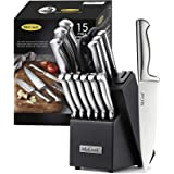 McCook MC21 Knife Sets,15 Pieces German Stainless Steel Knife Block Sets with Built-in Sharpener