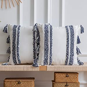 Boho Throw Pillow Covers: Set of 2 Woven Tufted 100% Cotton Square Decorative Pillowcases with Tassels for Couch Sofa Bed, Accent Cushion Covers for Home Decor Farmhouse, 18 x 18 Inch Navy Blue