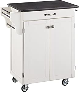 Create-a-cart White Kitchen Cart with Black Granite Top by Home Styles