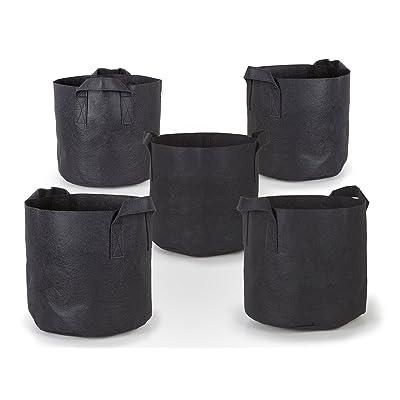 247Garden 5-Pack 3 Gallon Grow Bags/Aeration Fabric Pots w/Handles (Black) : Garden & Outdoor