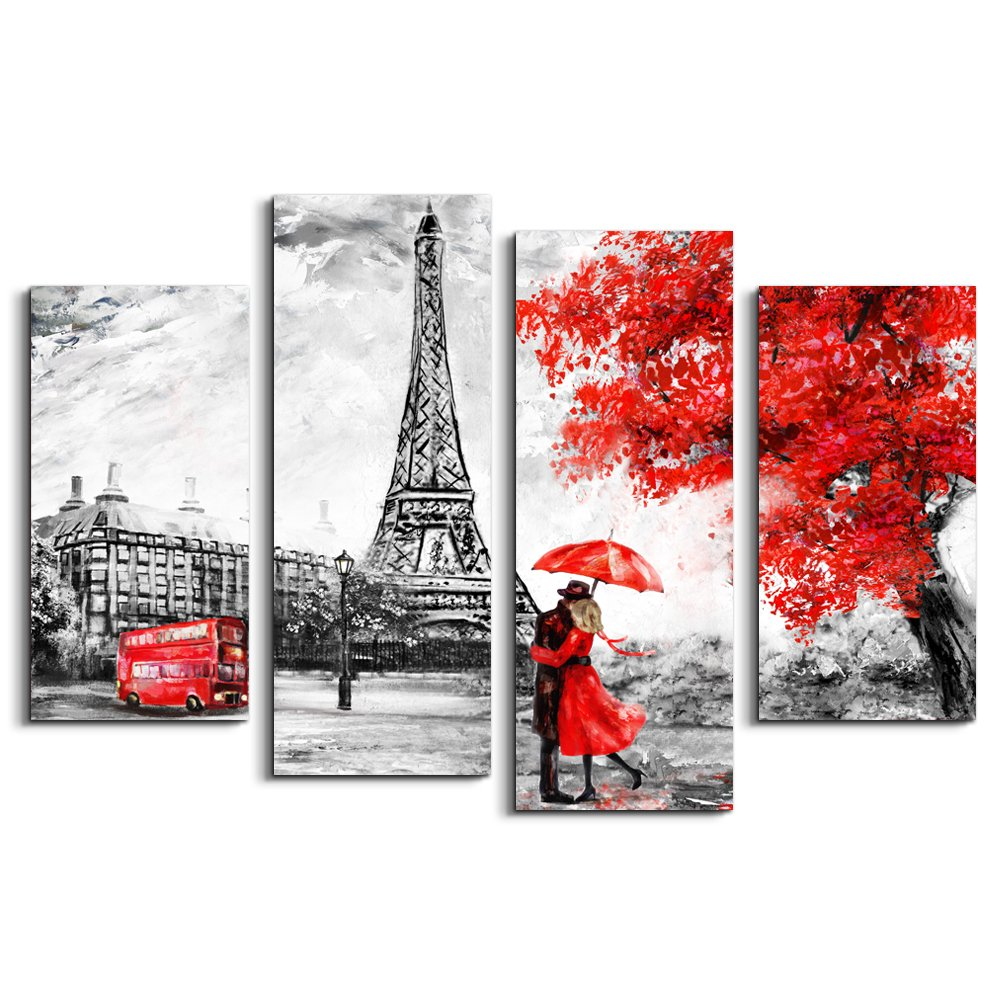 Large wall art decor ideas black and white red eiffel tower in paris france modern wall decor home decoration stretched gallery canvas wrap giclee print