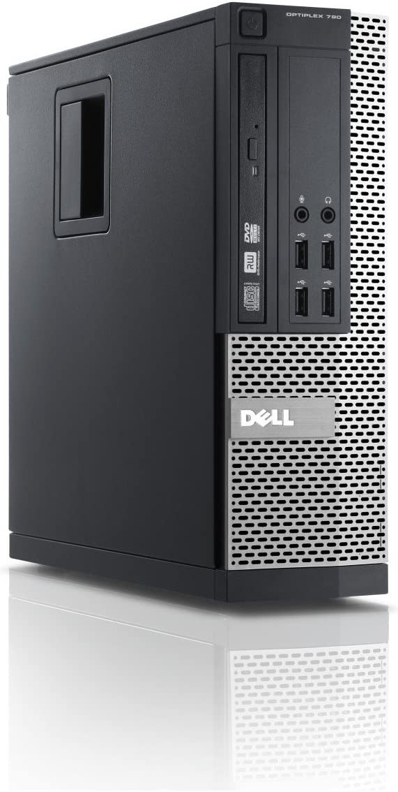 Dell 790 Desktop, Core i3-2100 3.1GHz, 4GB RAM, 250GB Hard Drive, DVD, Windows 10 Pro 64bit (Renewed)