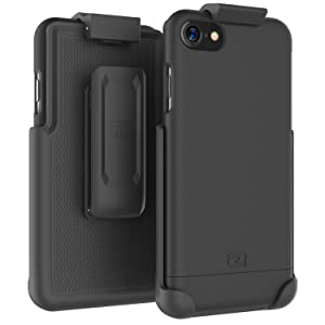 """Encased iPhone 7 Belt Case, (SlimShield Series) Protective Grip Case with Holster Clip for Apple iPhone 7 4.7"""" (Smooth Black)"""