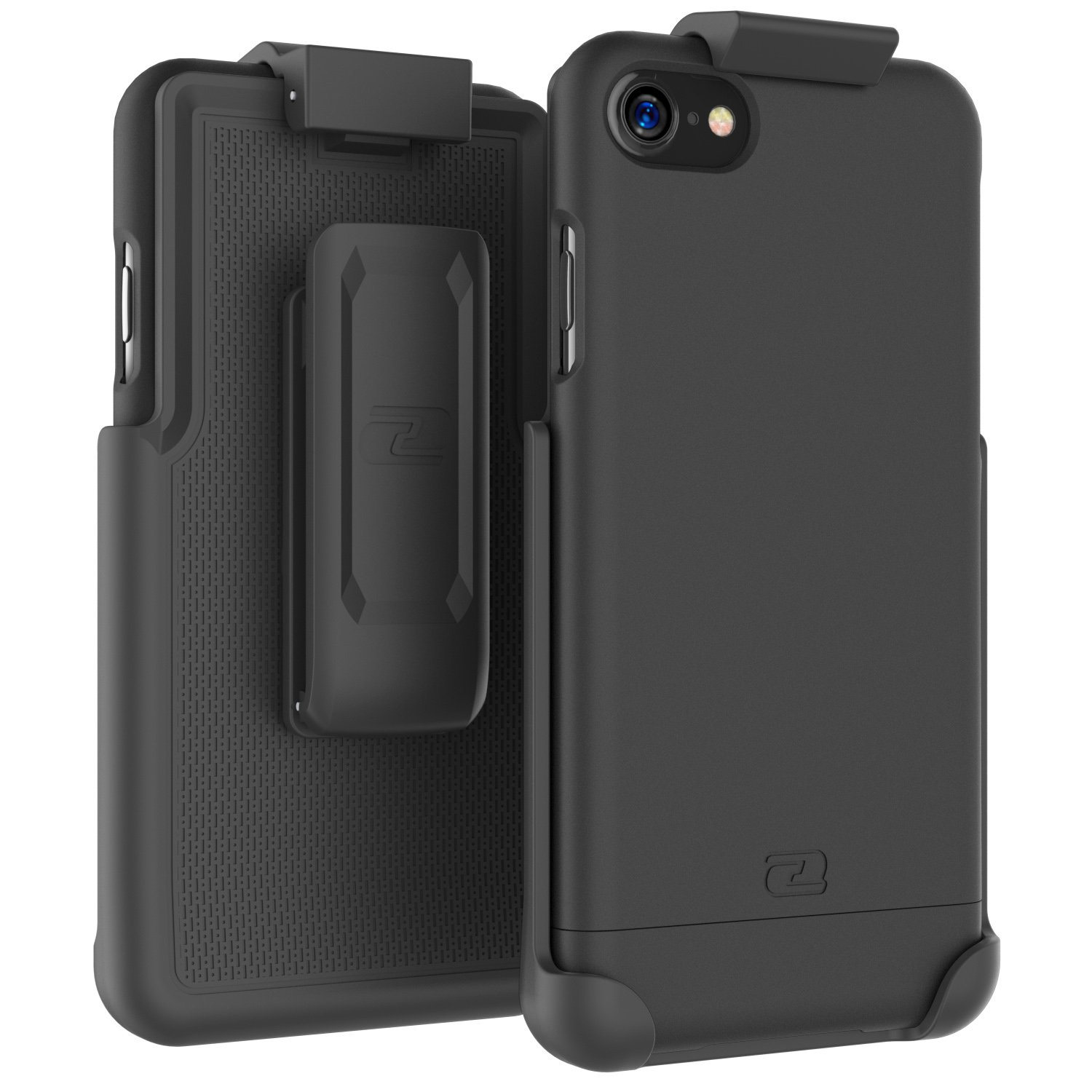 Encased iPhone 7 Belt Case, (SlimShield Series) Protective Grip Case with Holster Clip for Apple iPhone 7 4.7'' (Smooth Black)
