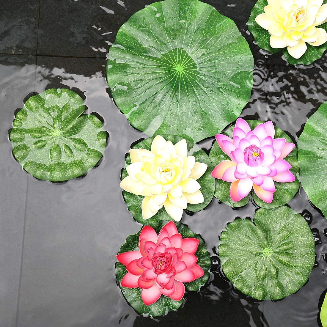 Perfect for Patio Koi Fish Pond Pool Aquarium Home Garden Wedding Party Special Event Decoration Sandis Pack Of 9 Artificial Floating Foam Lotus Leaves Water Lily Pads Ornaments Green