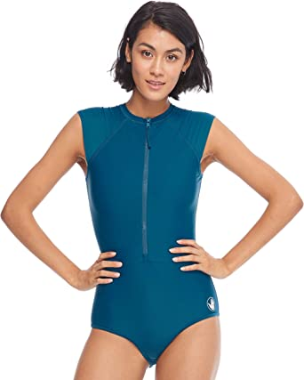 Body Glove Womens Rise Up Paddle Cap Sleeve One Piece Swimsuit with UPF 50+