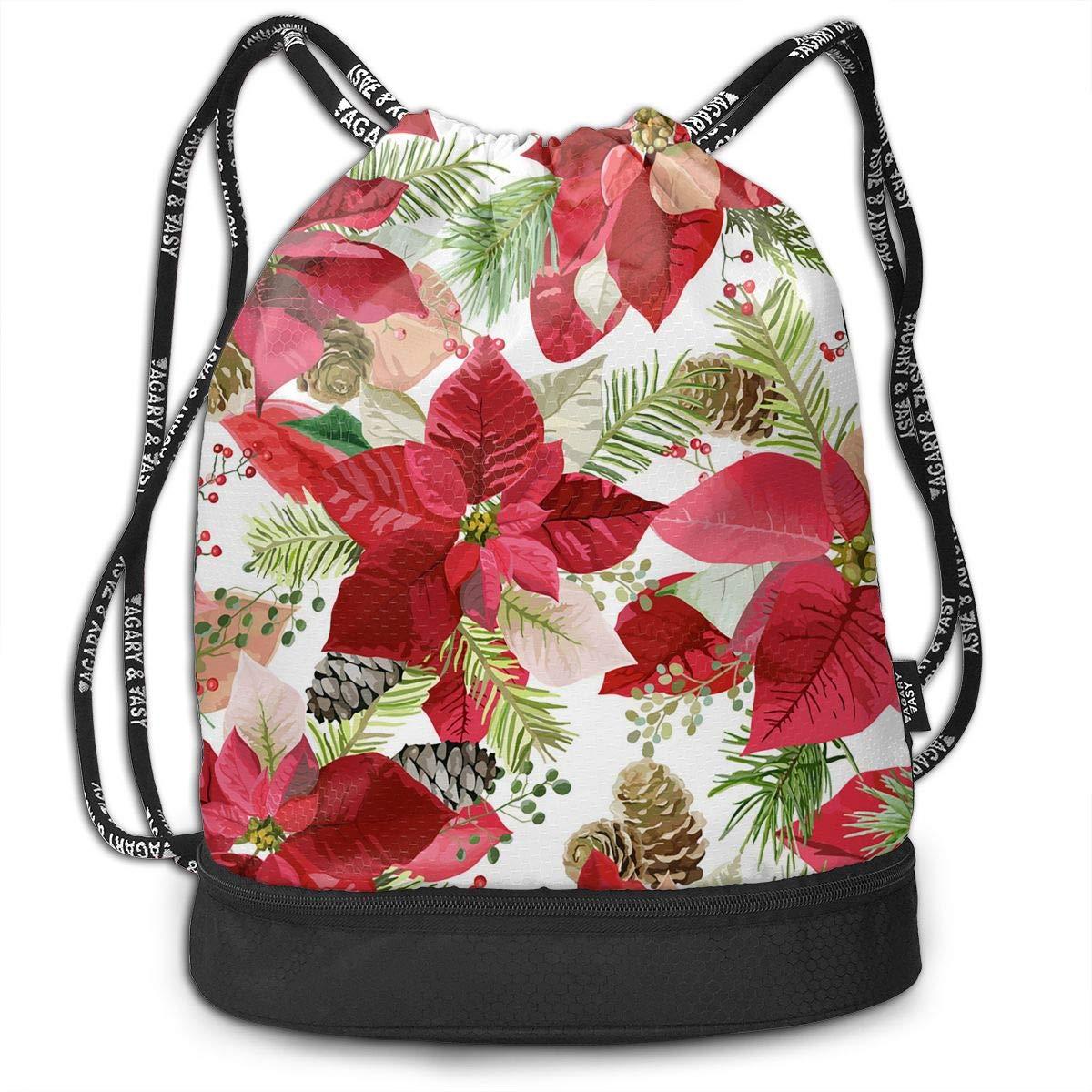 Amazon.com: Athletic Yoga Gym Sack Bag Poinsettia Flowers ...