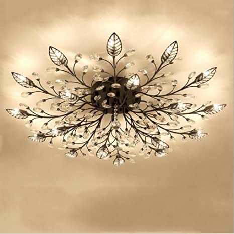 Diy Familymodern Crystal Led Ceiling Lamp Leaf Flush Mount Ceiling Light Fixture Decorative Crystal Chandelier For Dining Room Bedroom Livingroom