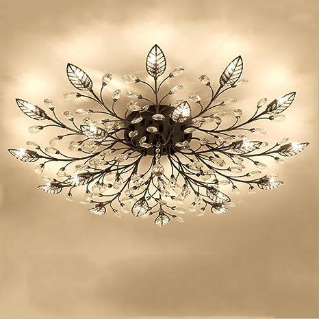 newest 87797 7d7d3 Diy FamilyModern Crystal LED Ceiling Lamp,Leaf Flush Mount Ceiling Light  Fixture Decorative Crystal Chandelier For Dining Room Bedroom Livingroom ...