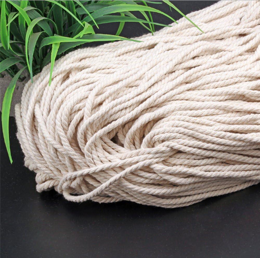 200m 3mm Beige Cotton Twisted Cord Rope Artisan Macrame String DIY Catcher Craft