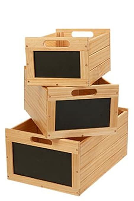 Gentil Natural Wooden Storage Bin Crates Chalkboard Erasable Front Sign Label  Vegetable Potato Craft Nesting Box Set