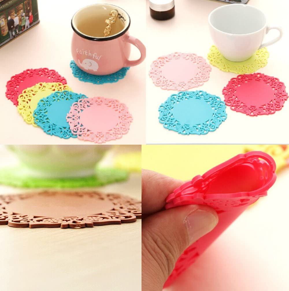 Cup Insulation Mat Trivet Mat Yueton 12pcs Silicone Flower Lace Cute Colorful Flexible Non Slip Heat-resistance Coaster Cup Mat Pad Drink Placemat Tableware Insulation Pad