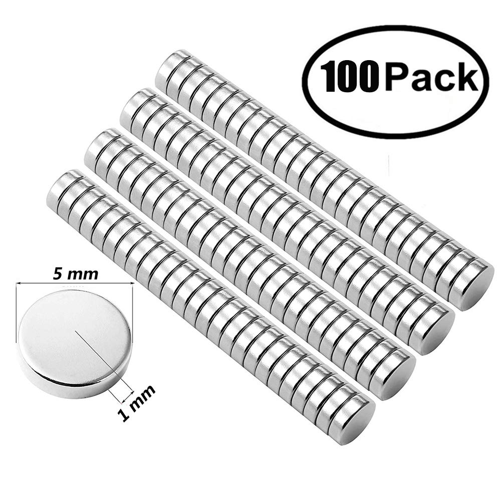 Small Multi-Use Refrigerator Magnets Round Refrigerator Magnets, 5X1MM Small Cylinder Magnets for Fridge, Kitchen, Home, Office, School, Science, Crafts(100PCS) (100)