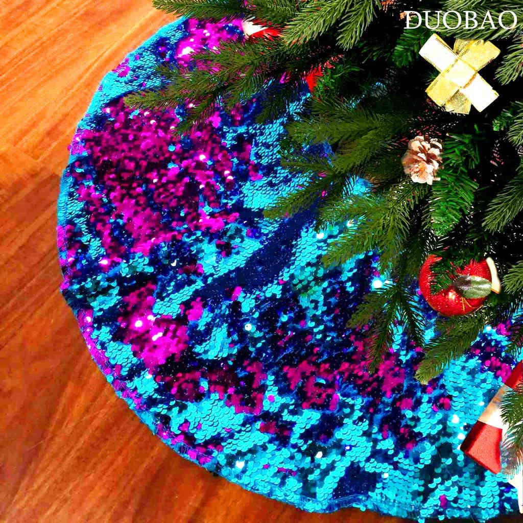 Baby Blue ShinyBeauty Embroidered and Sequined Holiday-Baby Blue-Sequin Tree Skirt-24Inch Christmas Tree Skirt Polyester Christmas Tree Skirt Christmas Decorations