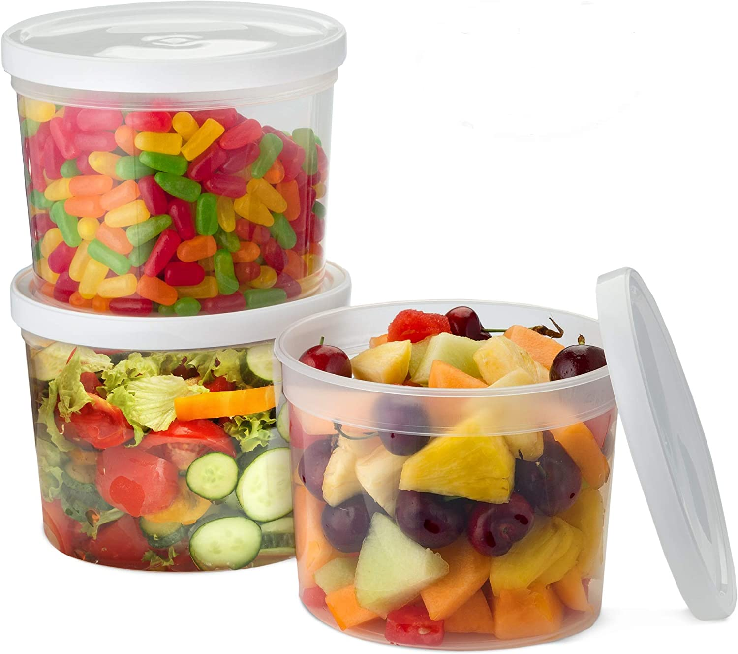 Propack [24 Count 50 Oz Combo] Round Clear Food Storage Deli Container with White Lids, Perfect for Meal Prep Soup, Ice Cream, Freezer, Dishwasher and Microwave Safe