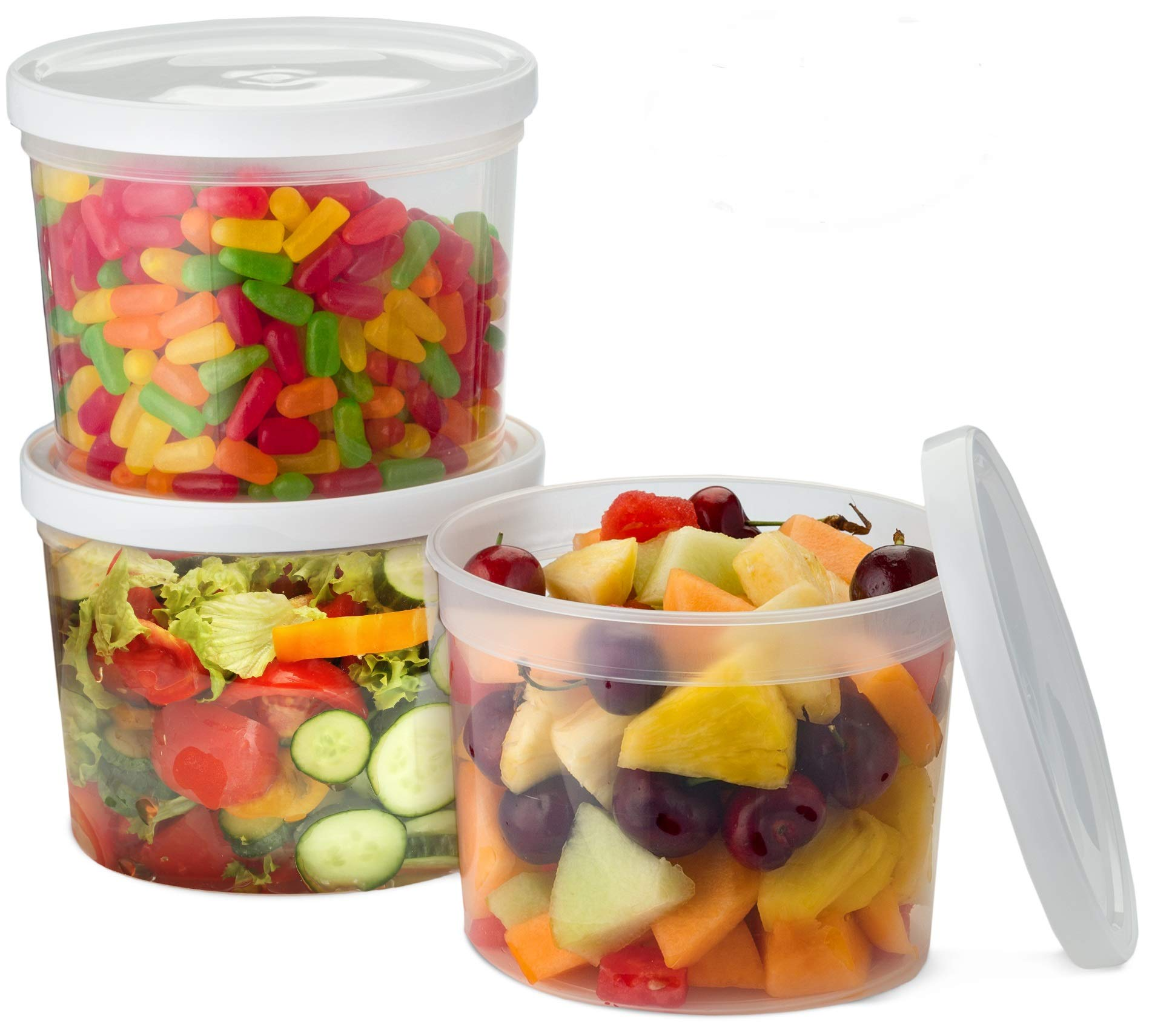 Propack 50 Ounce Food Storage Deli Container with White Lids Pack of 24 Combo Pack by Propack