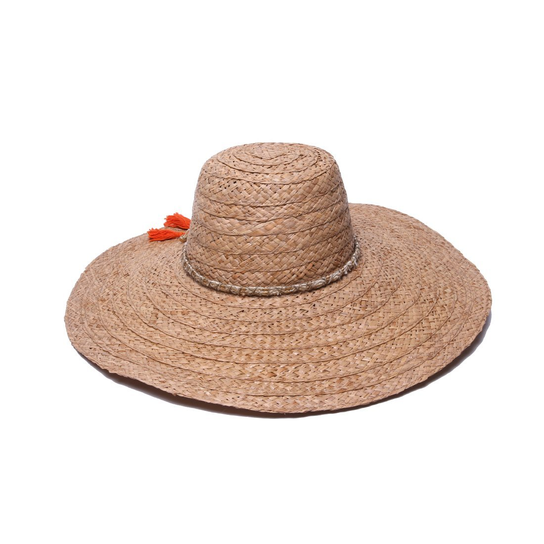 'ale by alessandra Women's Palapa Large Brim Raffia Floppy Hat With Metallic Sari Trim, Cocoa, One Size