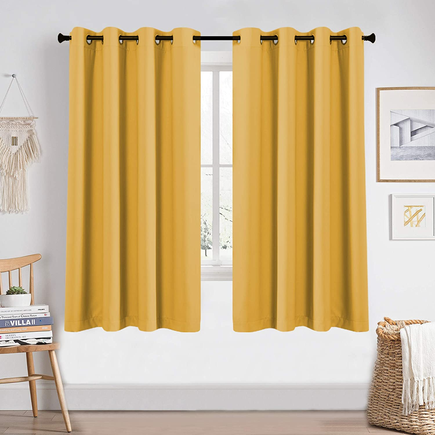 Amazon Com Blackout Yellow Curtains 63 Inches Long For Girls Room Bedroom Window Treatment Thermal Insulated Room Darkening Grommet Summer Kids Mustard Yellow Curtains Drapes For Living Room 1 Pair 52w X 63l