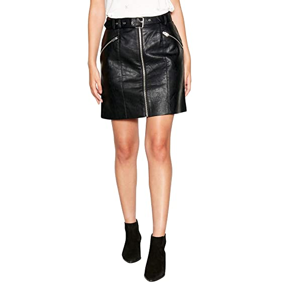 da4c8539a Debenhams Nine by Savannah Miller Womens Black Faux-Leather Zip Through  Mini Skirt 16