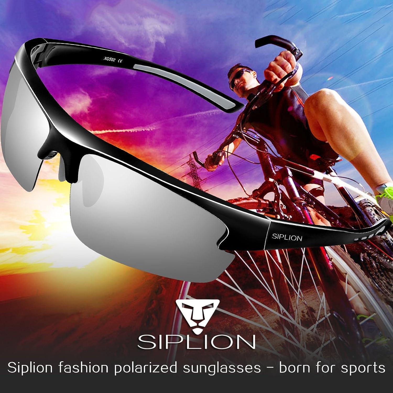 SIPLION Homme Sport Lunettes De Soleil Polarisé Protection UV400 Super léger Cadre 502 BLACK 8ML1euENmg