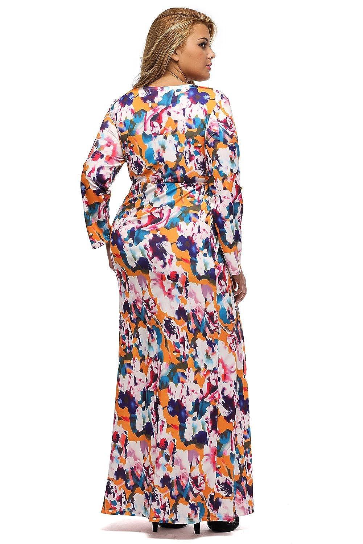 02477336c93d Lalagen Women s Floral 3 4 Sleeve Deep V Neck Plus Size Romper Maxi Dress  at Amazon Women s Clothing store