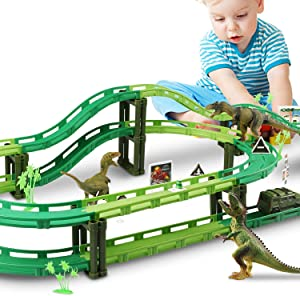 Vimzone Dinosaur Toys, Dinosaur World Road Race Car Track Set, Flexible Track Playset with 1 Car and 3 Dinosaurs Toys for 3 4 5 6 Year Up Old boy Girls Gift