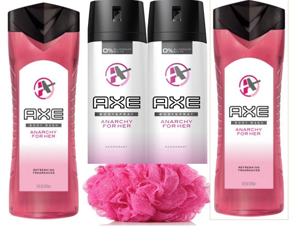 Axe Women's Anarchy For Her Gift Set, Body Wash + Sprays+ Bath sponge 5piece