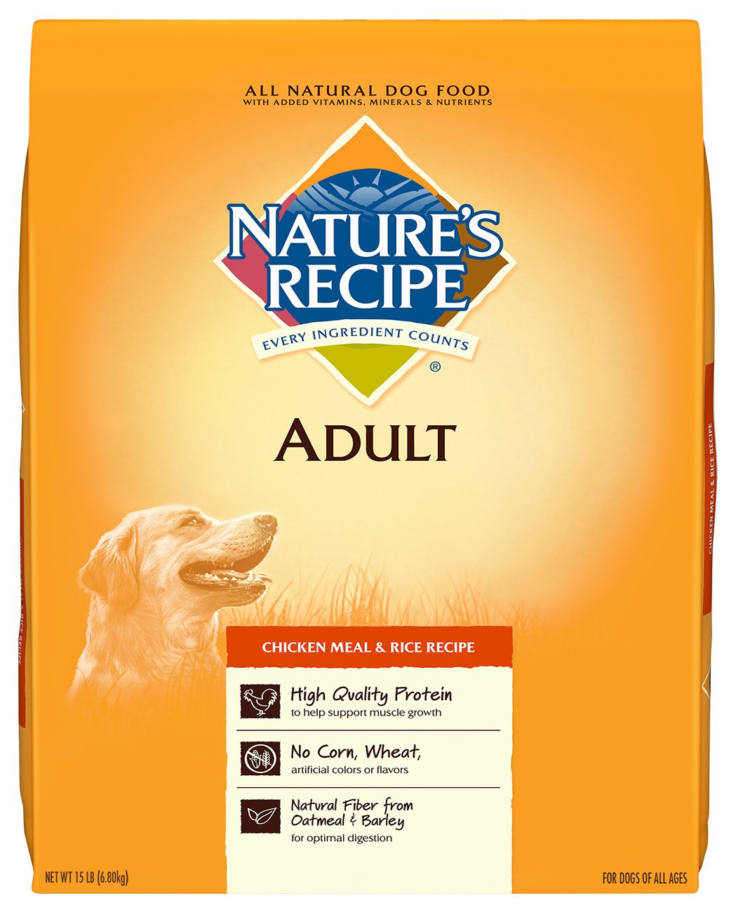 Nature's Recipe Adult Dry Dog Food Adult Chicken Meal & Rice Recipe 15-Pound