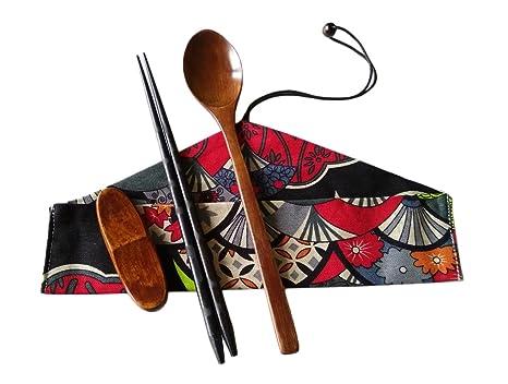 linshing-portable Juego de cubertería de madera natural para almuerzo o de viaje o al