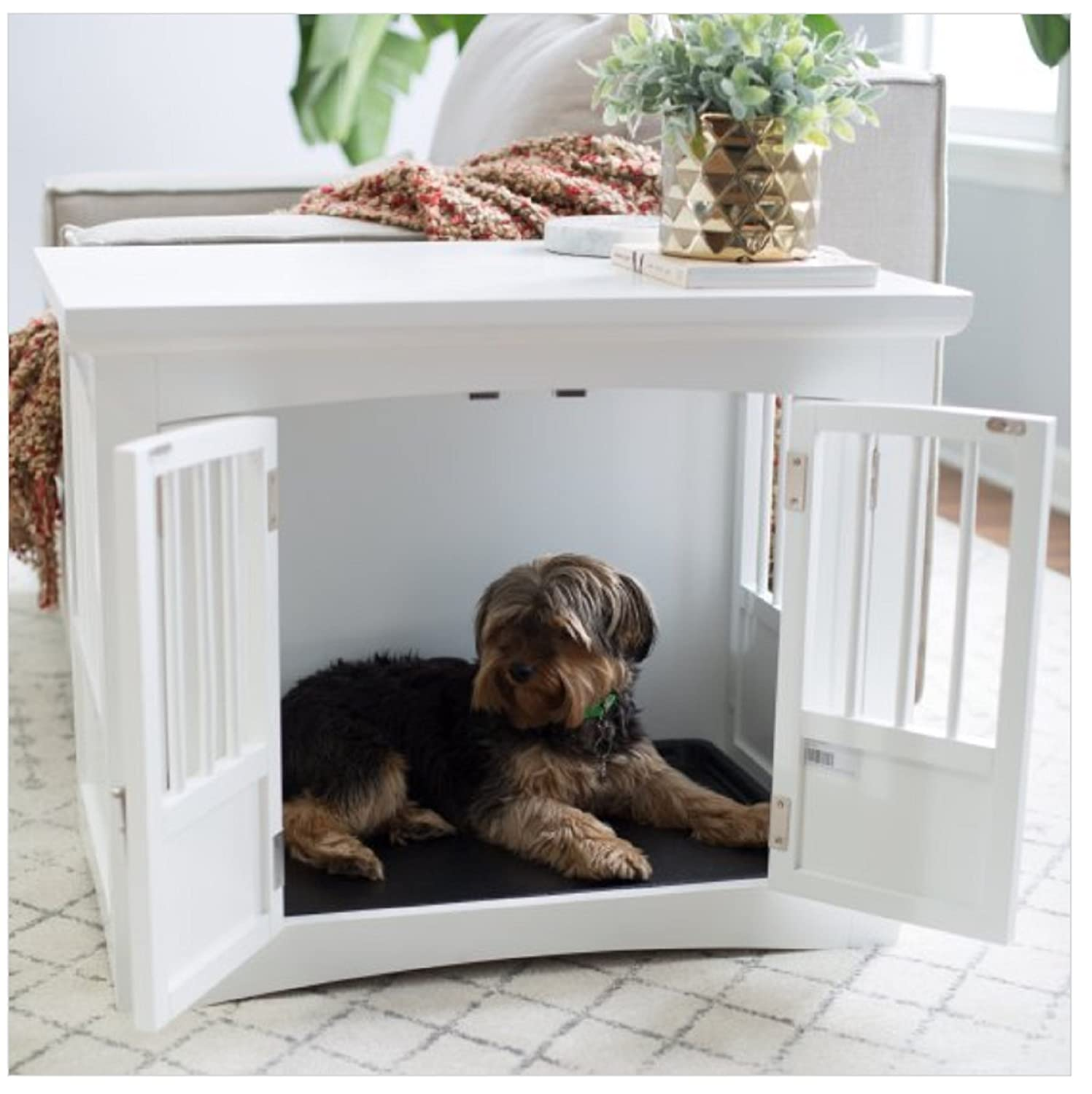 Indoor dog crate end table 2 door white wood bed kennel furniture bedroom puppy pet supplies