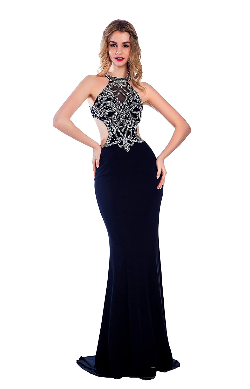 Bridal_Mall Women's Beaded Hlater Stretchy Mermaid Long Prom Evening Dresses