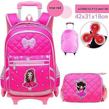 20c709d1edea 2pcs Rolling Backpack for Girls Lyfreen Waterproof Kids School Backpack  Super Cute School Bag with 6