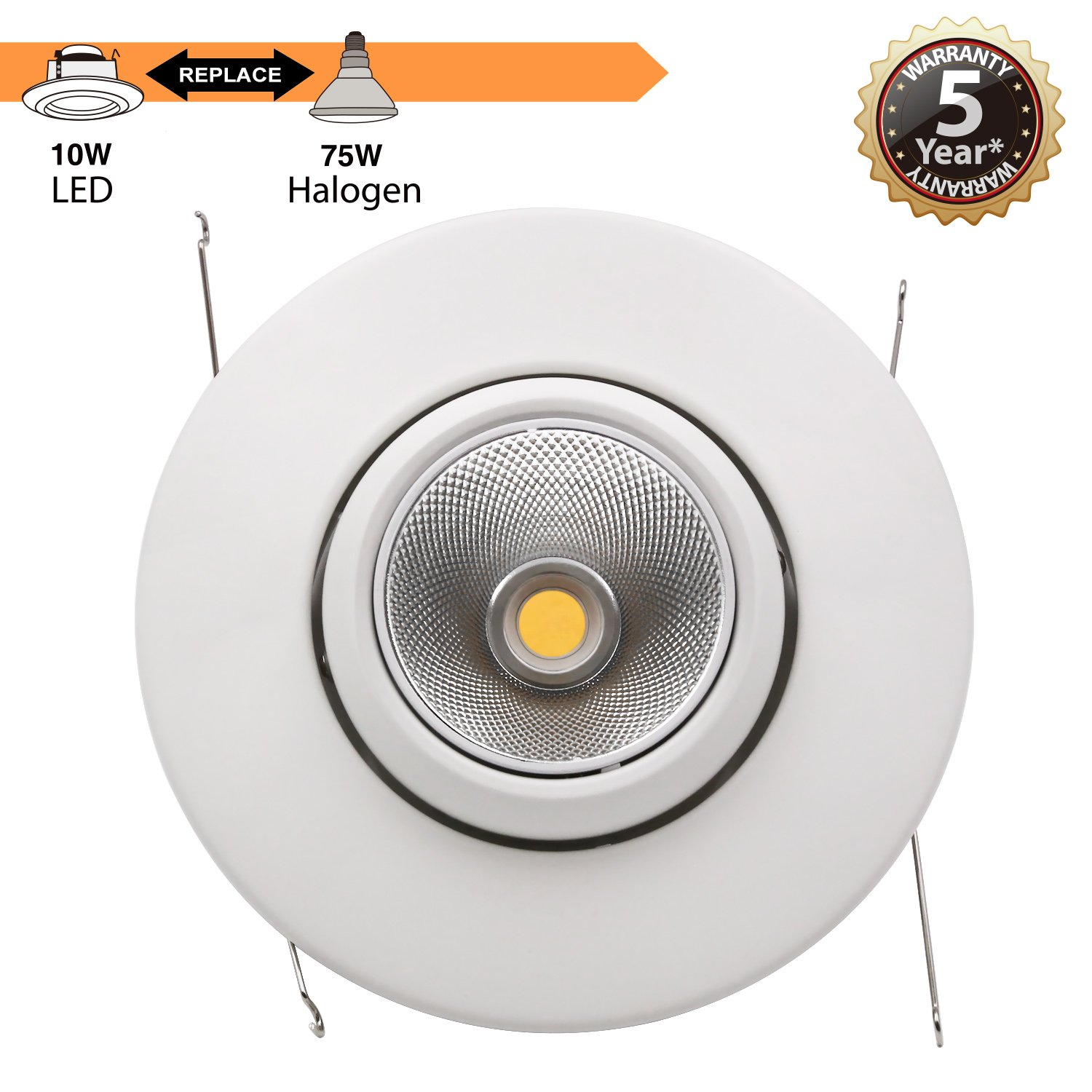 TORCHSTAR High CRI90+ 6inch Dimmable Gimbal Recessed LED Downlight, 10W (75W Equiv.), ENERGY STAR, 5000K Daylight, 950lm, Adjustable LED Retrofit Lighting Fixture, 5 YEARS WARRANTY, Pack of 4 by TORCHSTAR (Image #4)