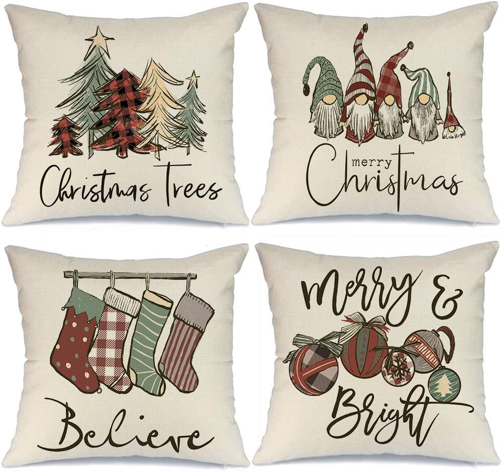 Xmas Decorations Cushion Cases for Couch A313-16 Gnome Santa Deer Snowman Rustic Winter Holiday Throw Pillows Farmhouse Christmas Decor for Home AENEY Christmas Pillow Covers 16x16 Set of 4