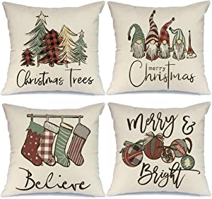 AENEY Christmas Pillow Covers 18x18 Set of 4, Buffalo Plaid Tree Snow Gnome Rustic Winter Holiday Throw Pillows Farmhouse Christmas Decor for Home, Xmas Decorations Cushion Cases for Couch A299-18