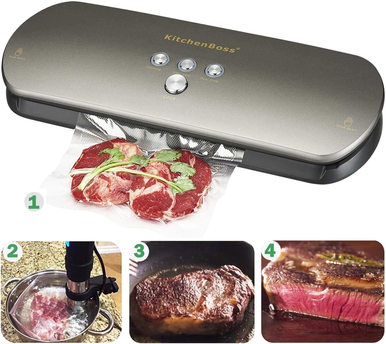 KitchenBoss Bolsas de Vacío Profesional 6 Rolls 20x500cm y 28 * 500cm con Caja de Corte (No Más Tijeras) para Almacenaje de Alimentos, Sous Vide ...