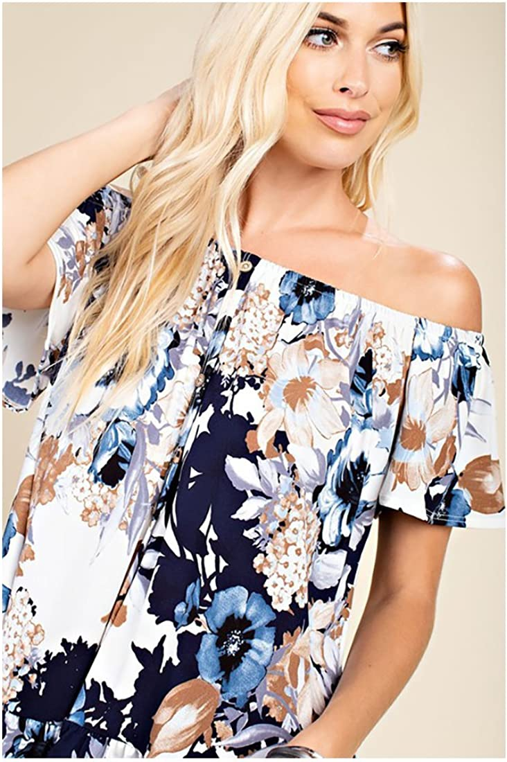 Women Off Shoulder Flower Ruffle Top