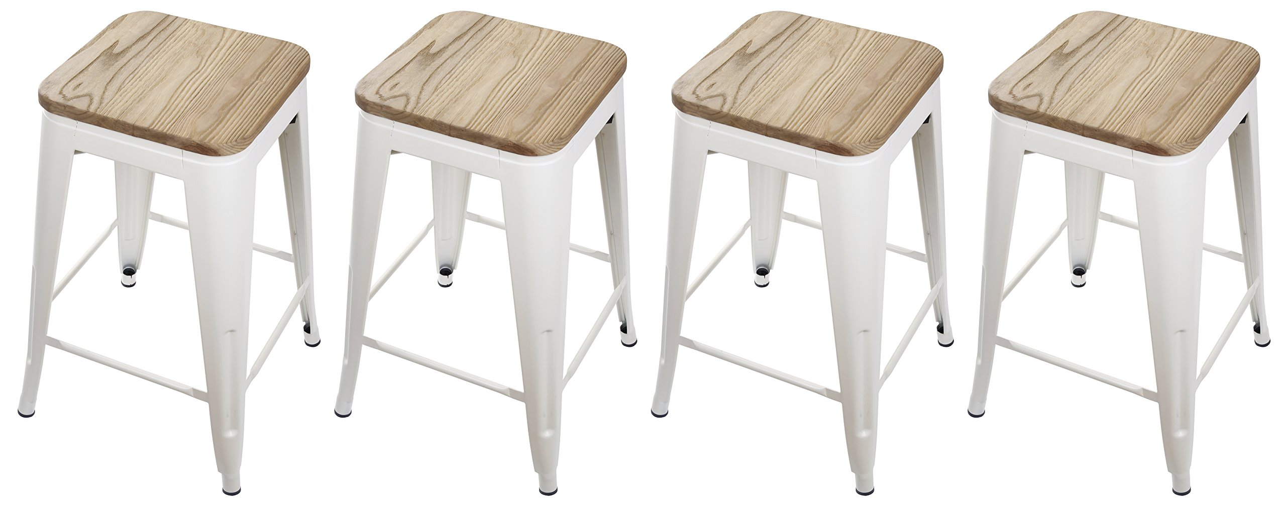 GIA Cream White 24'' Metal Stool with Wooden Seat(Set of 4) - Counter Height Square Backless - Tolix Style - Weight Capacity of 300+ Pounds - Ready to use - Extra Durable and Stackable