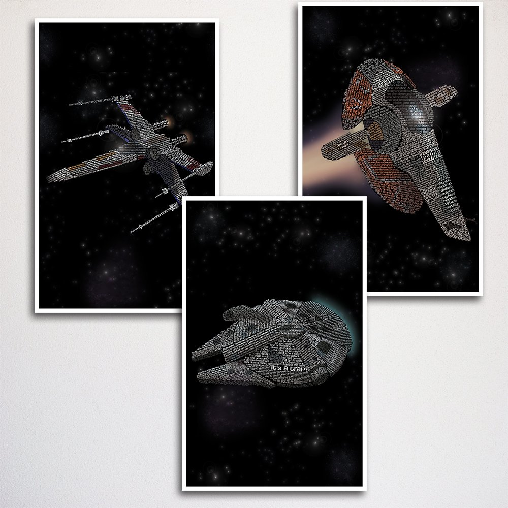 """Star Wars Ships Word Art Print Three Set 11x17"""" unframed 