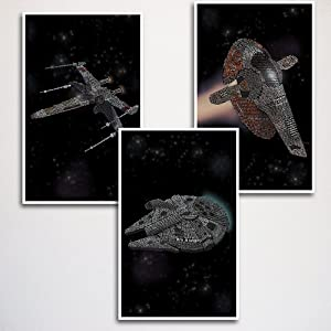 "Star Wars Ships Word Art Print Three Set 11x17"" unframed 
